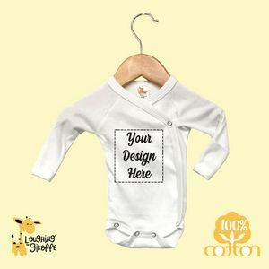 The Laughing Giraffe® Baby White Long Sleeve Bodysuit w/Mittens